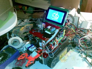 The nearly finished roboted, showing the splash screen