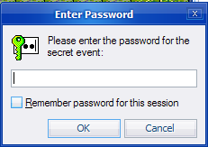 Secret event password enter dialog