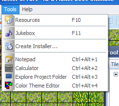 Tools menu with user-defined tools